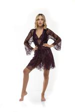 Tulle and Lace Nightdress and Robe Set - Aubergine