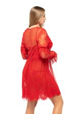 Tulle and Lace Nightdress and Robe Set - Red