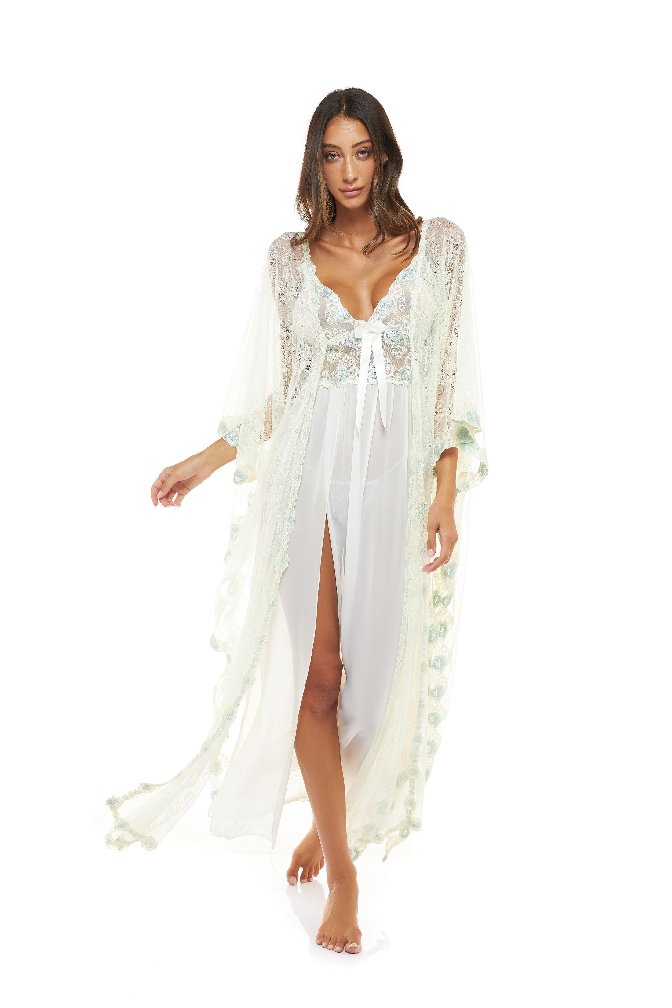 Chiffon & Lace Midi Nightdress with Matching Lace kimono - Ivory