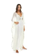 Chiffon & Lace Midi Nightdress with Matching Lace kimono - Ivory