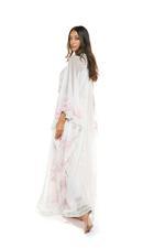 Chiffon & Tulle Embroidered Long Nightdress & Robe Set - Peach
