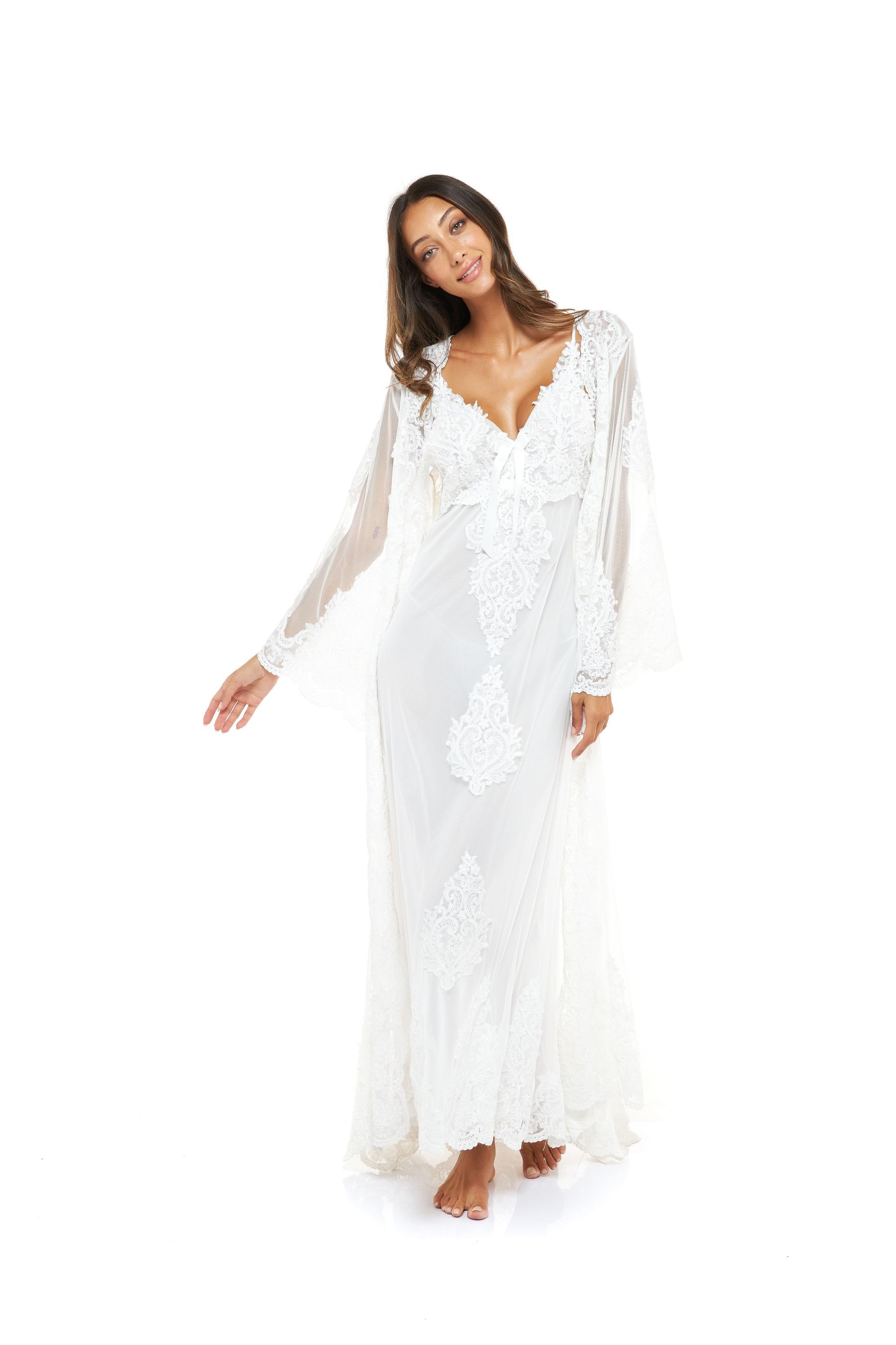 Dahlia Bridal Nightdress & Robe Set - White