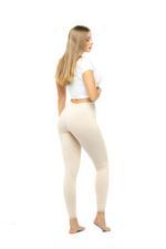 Long Leggings with Lace Trim - Beige