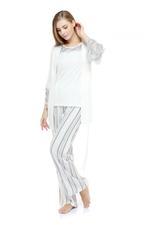 Cotton & Lace Pyjama set - White