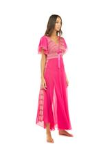 Double layered Chiffon Long Nightdress - Fushia