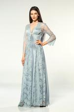 Satin & Lace Long Nightdress & Robe Set - Light Blue