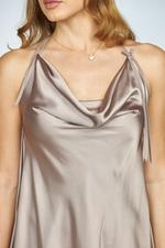 Satin Halterneck Nightdress with Lace Finishing - Beige