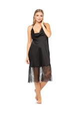 Satin halterneck nightdress with lace - BLACK