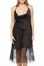 Satin halterneck nightdress with lace - BLACK