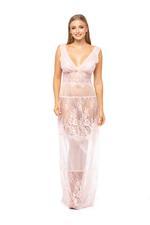 Lace Long Nightdress - Peach