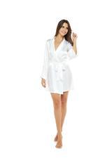Short White Satin Robe