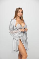 Short satin and Lace Nightdress & Robe Set - Silver