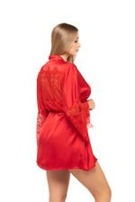 Short satin and Lace Nightdress & Robe Set - Red