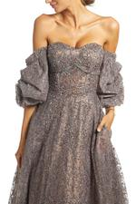 Fully Beaded Off- Shoulder Sweetheart Neckline Gown - Brown