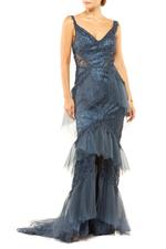 Fitted Off Shoulder Beaded Layered Lace Gown - Blue