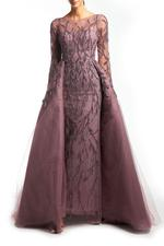 Overskirt Lace Gown with Long Sleeves, Petals - Lilac