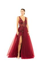 Fitted Beaded Floral Gown with Overskirt - Red