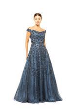 Off Shoulder Beaded Gown - Blue