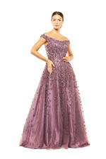 Off Shoulder Beaded Gown - Lilac