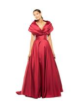 Off-Shoulder Satin Taffeta Gown - Red