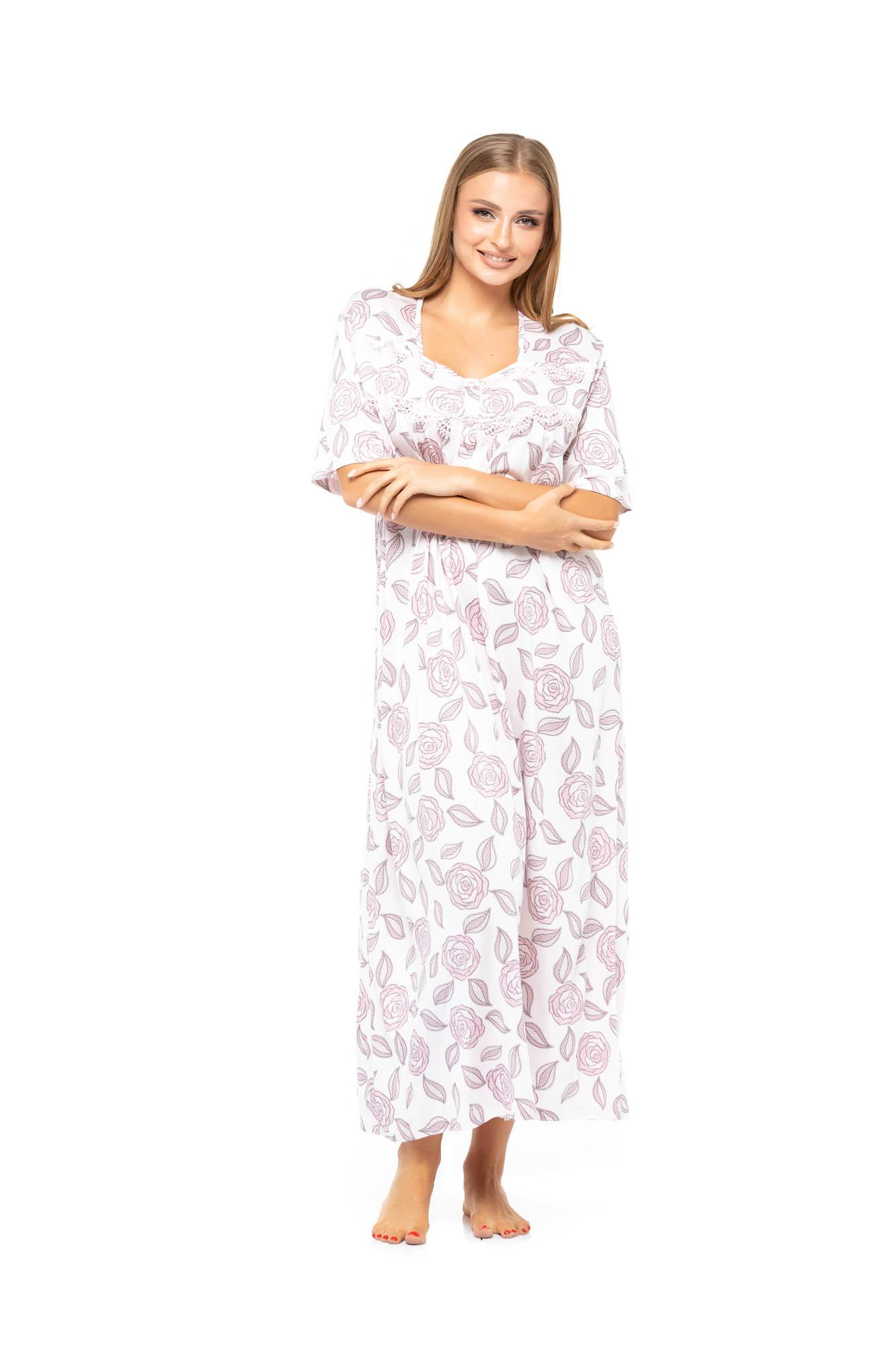 Floral Print Long Nightdress - Rose Pink