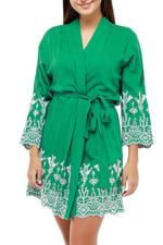 Embroidered Short Cotton Robe  - Green