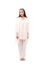 Cotton 3 Piece Pyjama Set with lace details - Peach