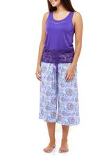 Lace & Floral Cropped Pyjama Set - Purple