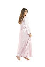 Satin Long Lace & Satin Nightdress & Robe Set - Rose Pink