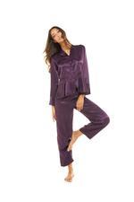 Silky Satin & Lace long Pyjamas - Purple