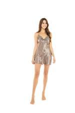 Silky Satin Short Nightdress - Coffee