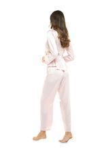 Elegant Embroidered Two piece long sleeve Satin Pyjama - Rose Pink