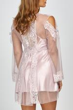 Morning Glory Lace & Tulle short Nightdress & Robe set - Rose Pink