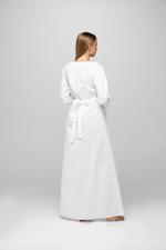 Long Cotton Jalibiya with lace and polkadot detail - White