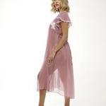 Midi Chiffon Nightdress with lace detail - Rose