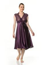 V Neckline Satin & Lace Midi Nightdress - Purple