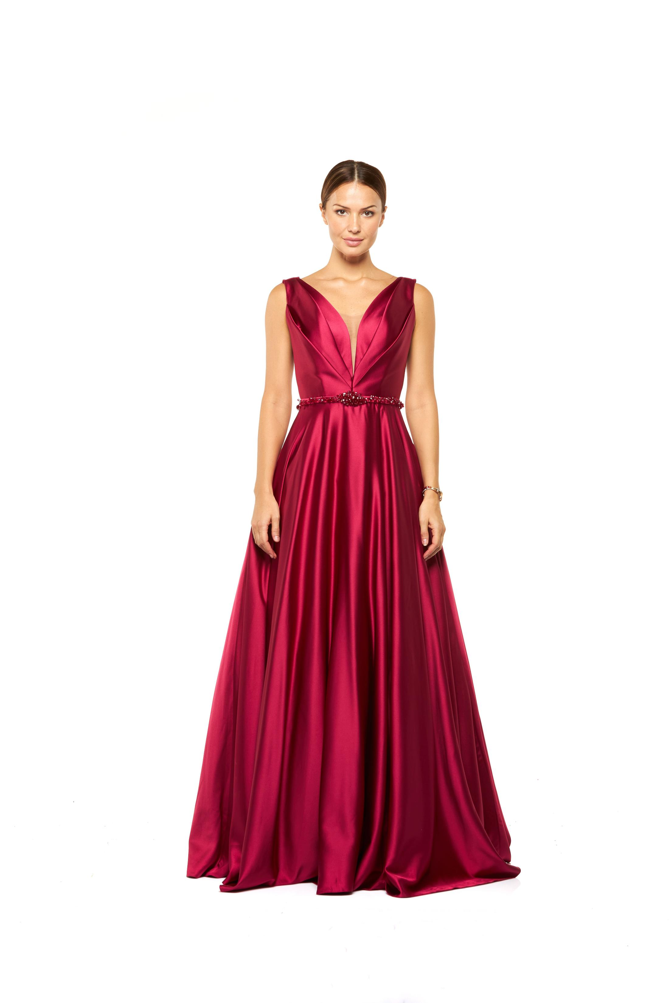 Crossover Satin Gown with beaded belt - Red