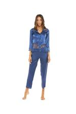 Silky Satin & Lace Pyjama Set - Navy