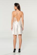 Satin & Lace Short Nightdress & Robe  Set - Ivory