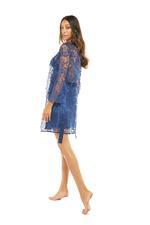 Satin & Lace Long Nightdress & Robe  Set - Navy