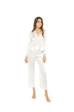 Satin & Lace Long Pyjama Set - Peach