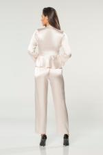 Satin & Lace 4 Piece Pyjama Set - Peach