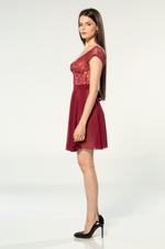 V Neckline Chiffon & Lace Short Nightdress - Bordeaux