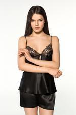 Satin & Lace 4 Piece Pyjama Set - Black