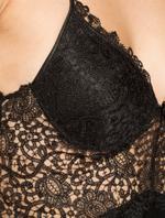 Satin & Lace Short Nightdress & Robe Set - Black