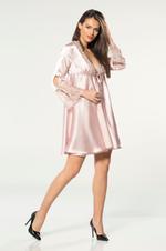 Satin & Lace Short Nightdress & Robe Set - Rose