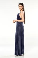 Long Velvet Nightdress - Navy Blue