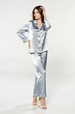Silky Satin Pyjama with contrast piping - Light Blue/White