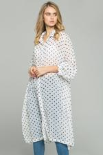 OwnTheLooks White Chiffon Polka Dot Print Hijab Long Sleeved Shirt