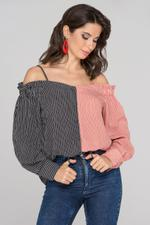 OwnTheLooks Black and Red Contrast Cold Shoulder Top